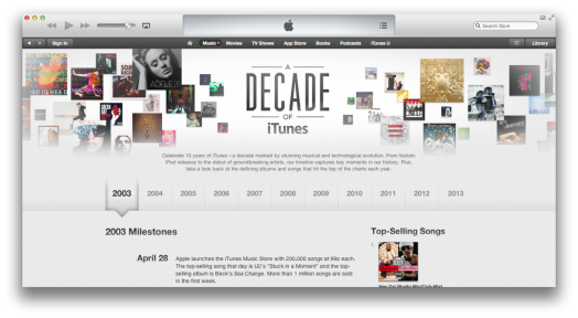 iTunes celebration for ten years